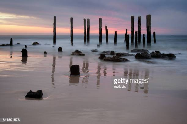 Jetty Ruin Port Willunga Dusk Adelaide Australia Tourism