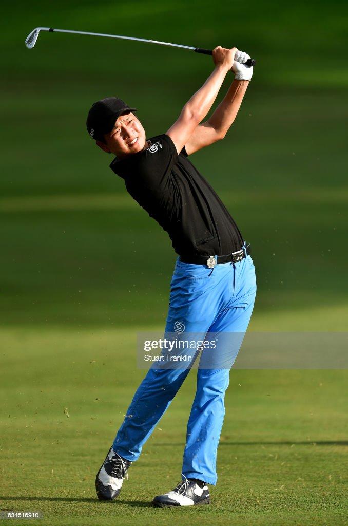 Jeunghun Wang of Korea plays a shot during Day Two of the Maybank Championship Malaysia at Saujana Golf Club on February 10, 2017 in Kuala Lumpur, Malaysia.