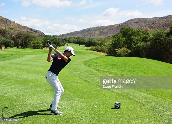 Jeunghun Wang of Korea plays a shot during the third round of The Nedbank Golf Challenge at Gary Player CC on November 12 2016 in Sun City South...