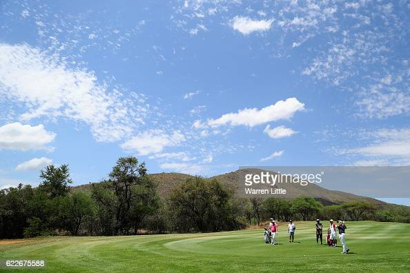 Jeunghun Wang of Korea plays his second shot into the 14th green during the third round of the Nedbank Golf Challenge at the Gary Player CC on...