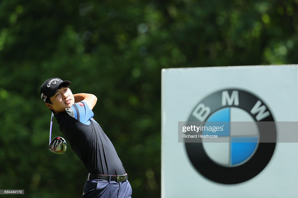 Jeunghun Wang of Korea tees off during day one of the BMW PGA Championship at Wentworth on May 26, 2016 in Virginia Water, England.