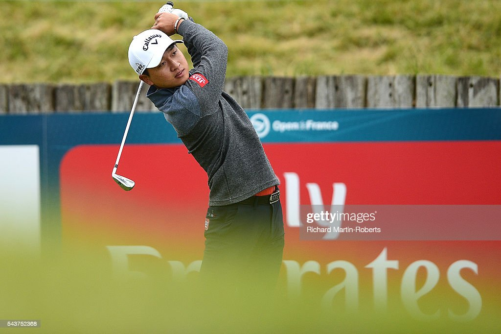 Jeunghun Wang of Korea tees off during the first round of the 100th Open de France at Le Golf National on June 30, 2016 in Paris, France.