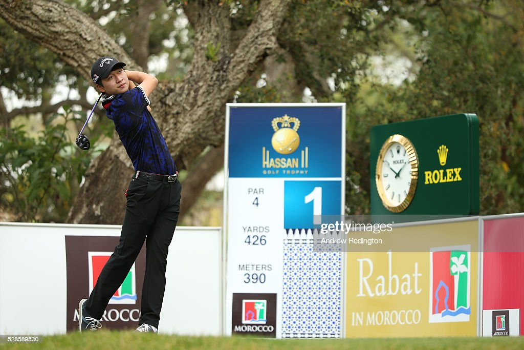 Jeunghun Wang of South Korea plays his tee shot on the first hole during the second round of the Trophee Hassan II at Royal Golf Dar Es Salam on May 6, 2016 in Rabat, Morocco.