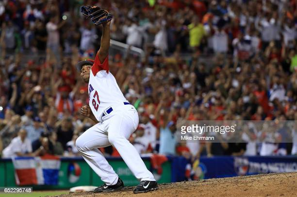 Jeurys Familia of the Dominican Republic celebrates winning a Pool C game of the 2017 World Baseball Classic against the United States at Miami...