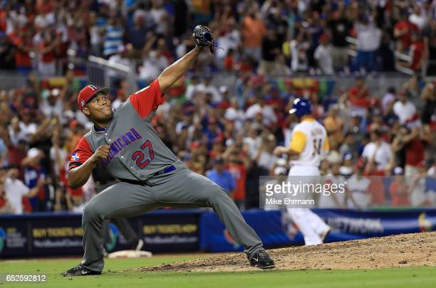 Jeurys Familia of the Dominican Republic reacts to winning a Pool C game of the 2017 World Baseball Classic against Colombia at Miami Marlins Stadium...