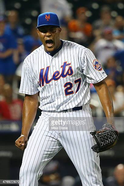 Jeurys Familia of the New York Mets celebrates after defeating the Atlanta Braves 53 at Citi Field on June 12 2015 in Flushing neighborhood of the...