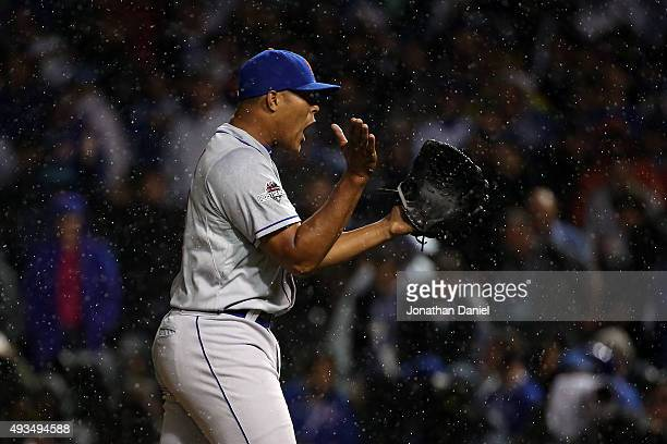 Jeurys Familia of the New York Mets celebrates after defeating the Chicago Cubs in game three of the 2015 MLB National League Championship Series at...