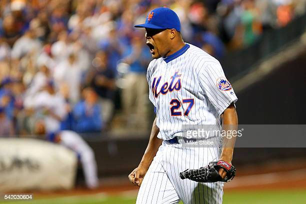 Jeurys Familia of the New York Mets celebrates after defeating the Kansas City Royals 21 at Citi Field on June 21 2016 in the Flushing neighborhood...