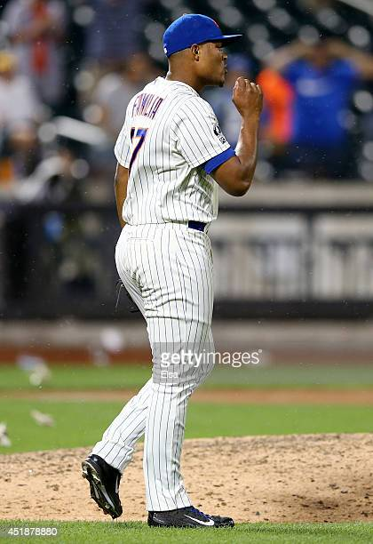 Jeurys Familia of the New York Mets celebrates the win after the game against the Atlanta Braves on July 8 2014 at Citi Field in the Flushing...