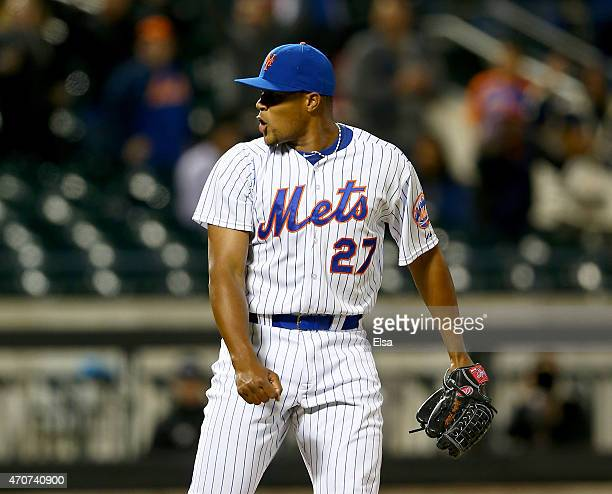 Jeurys Familia of the New York Mets celebrates the win over the Atlanta Braves on April 22 2015 at Citi Field in the Flushing neighborhood of the...