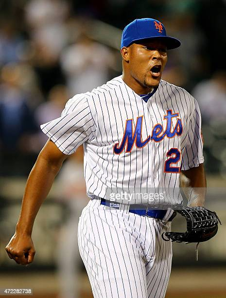 Jeurys Familia of the New York Mets celebrates the win over the Baltimore Orioles on May 5 2015 at Citi Field in the Flushing neighborhood of the...