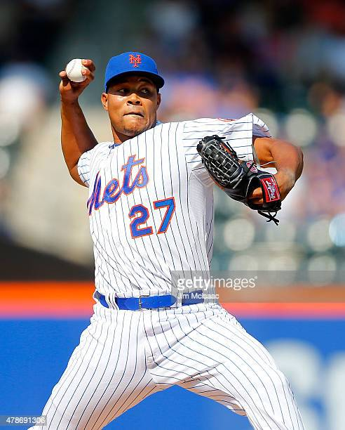 Jeurys Familia of the New York Mets in action against the Atlanta Braves at Citi Field on June 14 2015 in the Flushing neighborhood of the Queens...