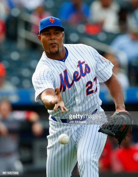 Jeurys Familia of the New York Mets in action against the Cincinnati Reds at Citi Field on September 10 2017 in the Flushing neighborhood of the...