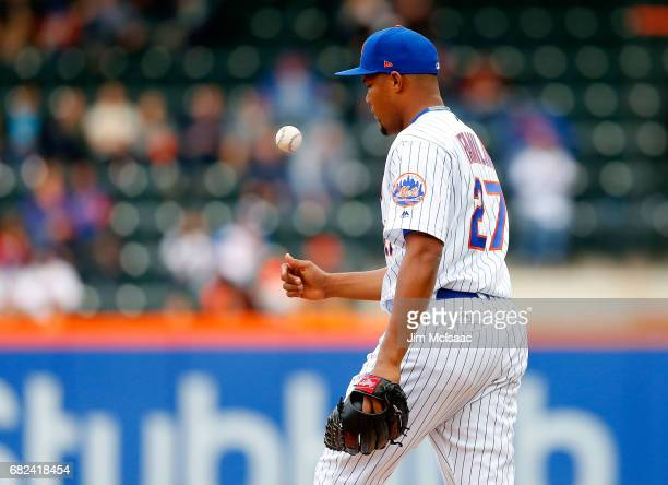 Jeurys Familia of the New York Mets in action against the San Francisco Giants at Citi Field on May 10 2017 in the Flushing neighborhood of the...