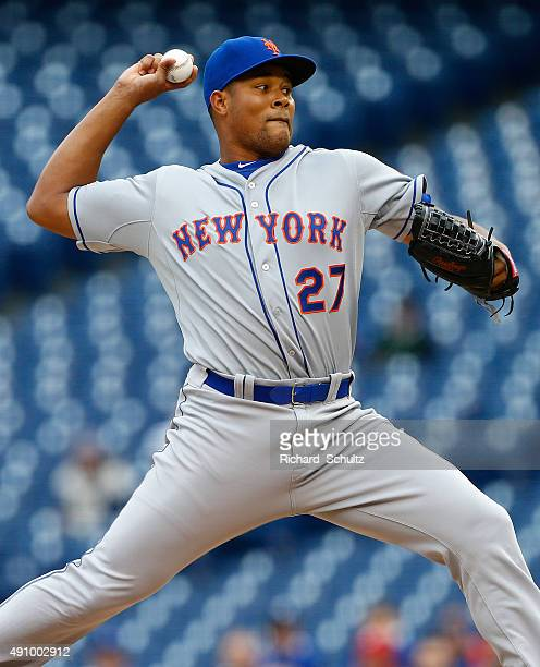 Jeurys Familia of the New York Mets in action during an MLB game against the Philadelphia Phillies at Citizens Bank Park on October 1 2015 in...