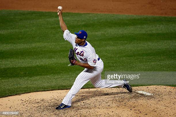 Jeurys Familia of the New York Mets pitches in the ninth inning against the Kansas City Royals during Game Three of the 2015 World Series at Citi...