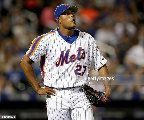 Jeurys Familia of the New York Mets reacts after Adrian Gonzalez of the Los Angeles Dodgers hit a 2 RBI sinlge in the ninth inning at Citi Field on...