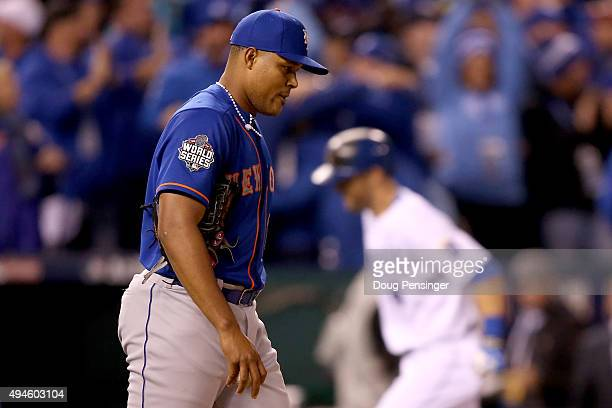 Jeurys Familia of the New York Mets reacts after Alex Gordon of the Kansas City Royals hits a solo home run in the ninth inning during Game One of...