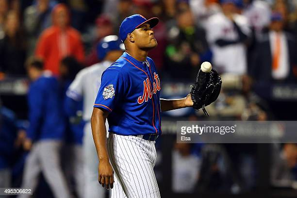 Jeurys Familia of the New York Mets reacts in the ninth inning against the Kansas City Royals during Game Five of the 2015 World Series at Citi Field...