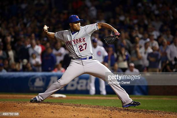 Jeurys Familia of the New York Mets throws a pitch in the ninth inning against the Chicago Cubs during game four of the 2015 MLB National League...