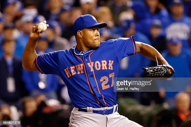 Jeurys Familia of the New York Mets throws a pitch in the ninth inning against the Kansas City Royals during Game One of the 2015 World Series at...