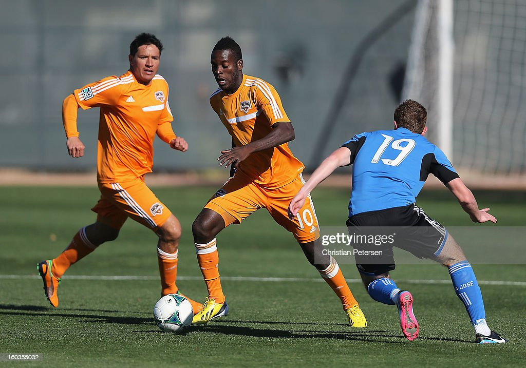 Je-Vaughn Waatson #10 of the Houston Dynamo controls the ball during The Desert Friendlies Presented By FC Tucson against the San Jose Earthquakes at Kino Sports Complex on January 29, 2013 in Tucson, Arizona. The Earthquakes defeated the Dynamo 2-0.