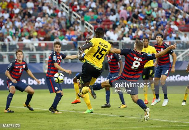 JeVaughn Watson of Jamaica scores a goal against the the United States during the 2017 CONCACAF Gold Cup Final at Levi's Stadium on July 26 2017 in...