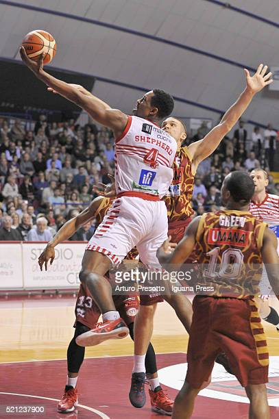 Jevohn Shepherd of Consultinvest competes with Josh Owens and Michael Bramos and Mike Green of Umana during the LegaBasket match between Reyer Umana...