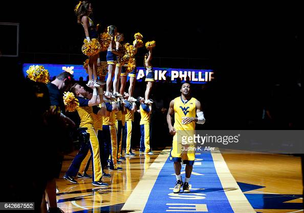 Jevon Carter of the West Virginia Mountaineers takes the floor during introductions against the Texas Tech Red Raiders at the WVU Coliseum on...