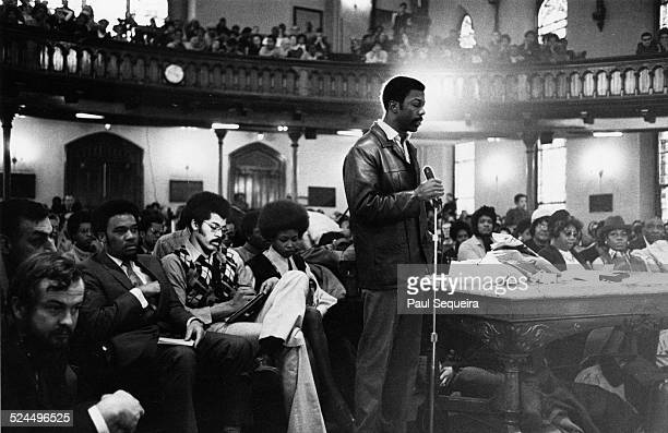 Jewel Cook a member of the Black Panther Party speaks at a Pantherheld inquest into the death of Fred Hampton Chicago Illinois late 1969 or early 1970