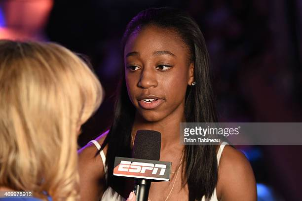 Jewel Loyd talks with ESPN during the 2015 WNBA Draft Presented By State Farm on April 16 2015 at Mohegan Sun Arena in Uncasville Connecticut NOTE TO...