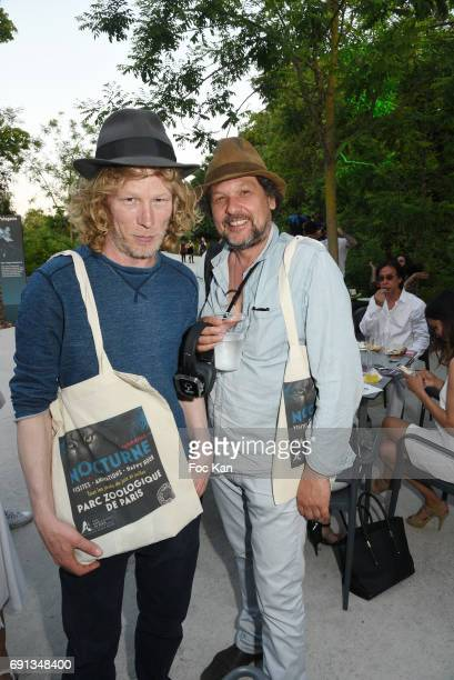 Jewelelry designer Jonas Bowman and audiovisual producer Fred Aufray attend the Patrick Le Hec'h Photos Exhibition Preview at Parc Zoologique de...
