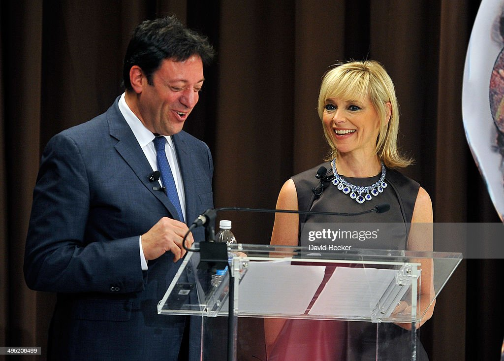 Jeweler Eddie LeVian (L) and Harper's Bazaar Executive Beauty and Fashion Editor Avril Graham speak on stage during the 2015 Le Vian Red Carpet Revue at the Mandalay Bay Convention Center on June 1, 2014 in Las Vegas, Nevada.
