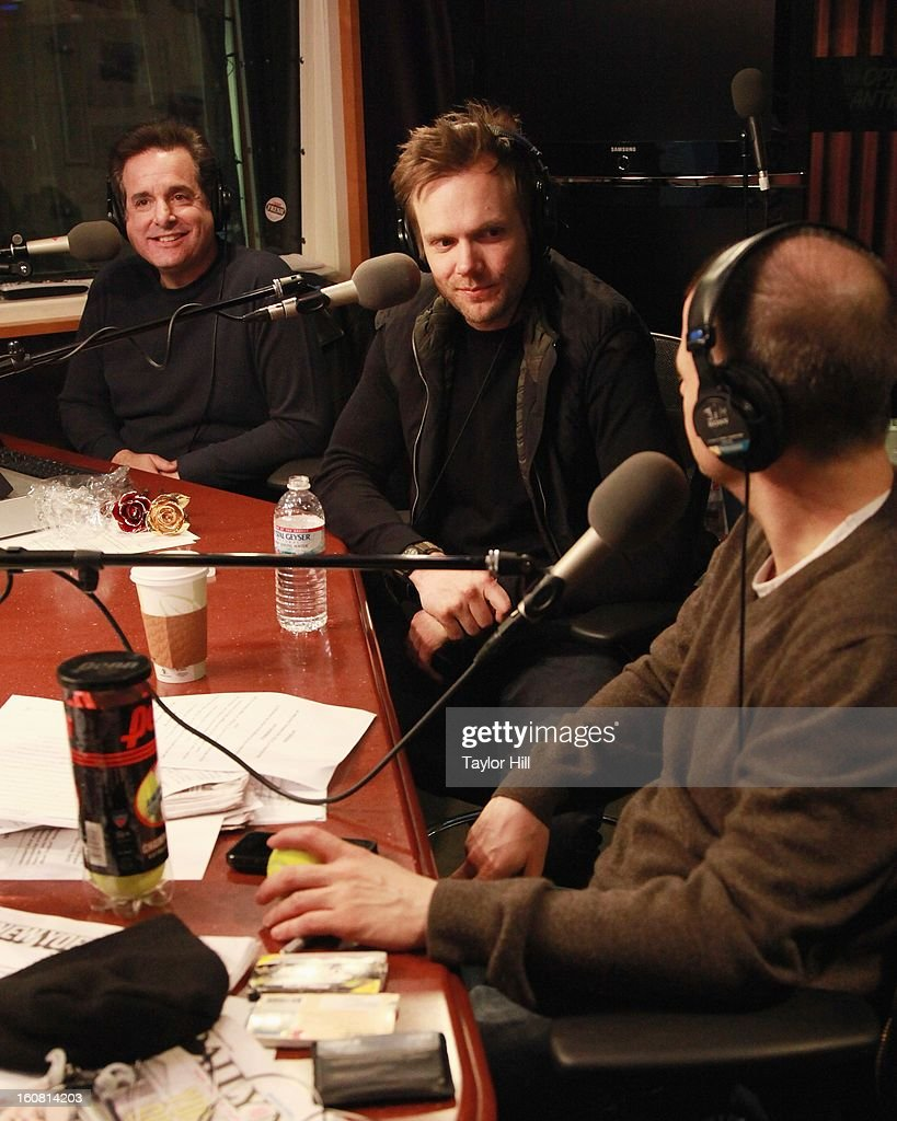Jeweler Steven Singer, actor Joel McHale and co-host Jim Norton visit 'The Opie & Anthony Show' at SiriusXM Studios on February 6, 2013 in New York City.