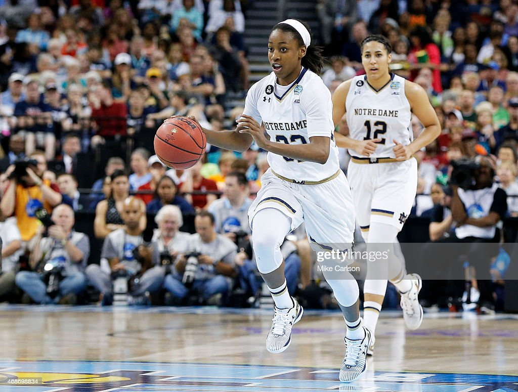 Jewell Loyd #32 of the Notre Dame Fighting Irish drives against the South Carolina Gamecocks in the second half during the NCAA Women's Final Four Semifinal at Amalie Arena on April 5, 2015 in Tampa, Florida.