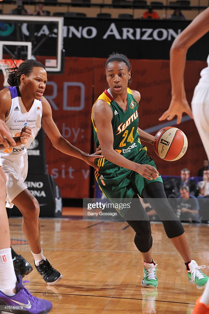 <a gi-track='captionPersonalityLinkClicked' href=/galleries/search?phrase=Jewell+Loyd&family=editorial&specificpeople=9966103 ng-click='$event.stopPropagation()'>Jewell Loyd</a> #24 of the Seattle Storm brings the ball up court against the Phoenix Mercury on May 28, 2015 at Talking Stick Resort Arena in Phoenix, Arizona.