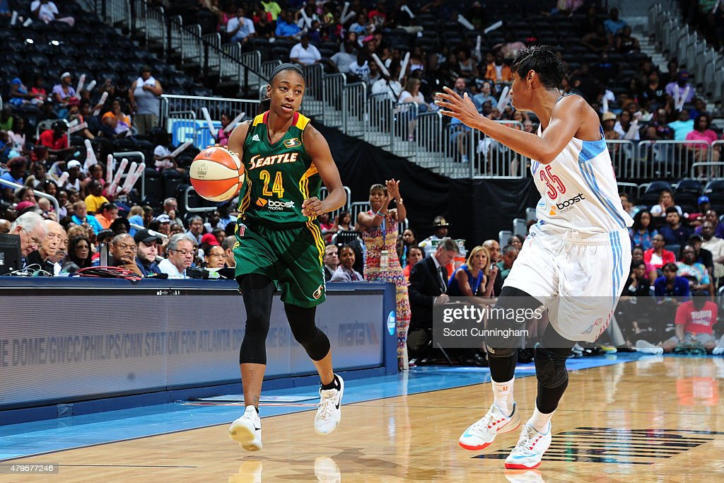 Jewell Loyd #24 of the Seattle Storm drives to the basket against the Atlanta Dream during the game on July 5, 2015 at Philips Arena in Atlanta, Georgia.