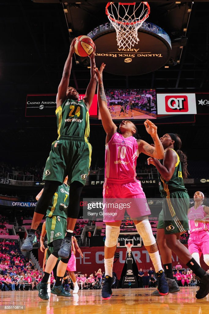 Jewell Loyd #24 of the Seattle Storm gets the rebound during the game against the Phoenix Mercury on August 12, 2017 at Talking Stick Resort Arena in Phoenix, Arizona.