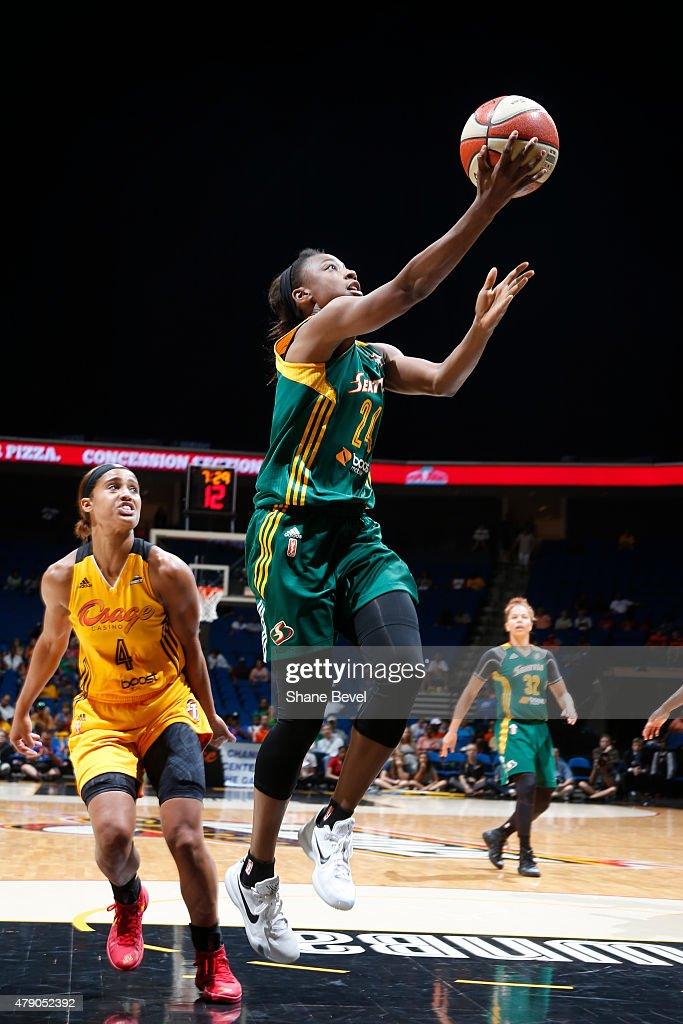 <a gi-track='captionPersonalityLinkClicked' href=/galleries/search?phrase=Jewell+Loyd&family=editorial&specificpeople=9966103 ng-click='$event.stopPropagation()'>Jewell Loyd</a> #24 of the Seattle Storm goes for the layup against the Tulsa Shock on June 28, 2015 at the BOK Center in Tulsa, Oklahoma.