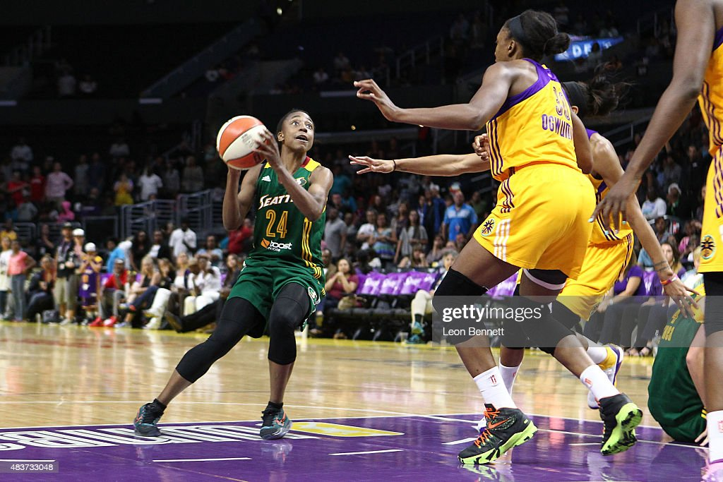 <a gi-track='captionPersonalityLinkClicked' href=/galleries/search?phrase=Jewell+Loyd&family=editorial&specificpeople=9966103 ng-click='$event.stopPropagation()'>Jewell Loyd</a> #24 of the Seattle Storm handles the ball against <a gi-track='captionPersonalityLinkClicked' href=/galleries/search?phrase=Nneka+Ogwumike&family=editorial&specificpeople=7950576 ng-click='$event.stopPropagation()'>Nneka Ogwumike</a> #30 of the Los Angeles Sparks in a WNBA game at Staples Center on August 11, 2015 in Los Angeles, California.
