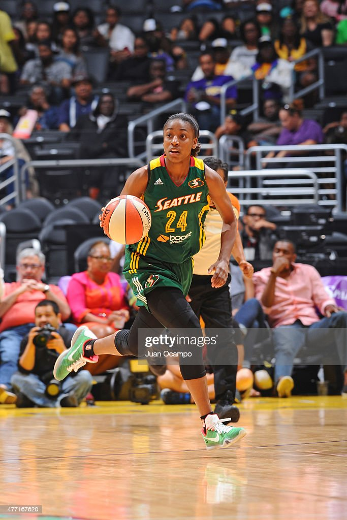 <a gi-track='captionPersonalityLinkClicked' href=/galleries/search?phrase=Jewell+Loyd&family=editorial&specificpeople=9966103 ng-click='$event.stopPropagation()'>Jewell Loyd</a> #24 of the Seattle Storm handles the ball against the Los Angeles Sparks on June 14, 2015 at STAPLES Center in Los Angeles, California.