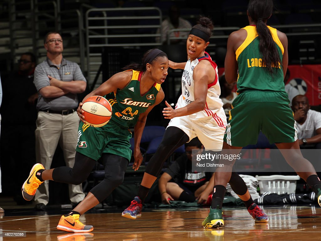 <a gi-track='captionPersonalityLinkClicked' href=/galleries/search?phrase=Jewell+Loyd&family=editorial&specificpeople=9966103 ng-click='$event.stopPropagation()'>Jewell Loyd</a> #24 of the Seattle Storm handles the ball against the Washington Mystics on July 29, 2015 at the Verizon Center in Washington, DC.