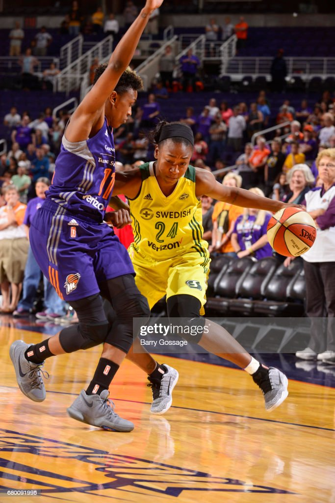 Jewell Loyd #24 of the Seattle Storm handles the ball against the Phoenix Mercury during a preseason game on May 7, 2017 at Talking Stick Resort Arena in Phoenix, Arizona.