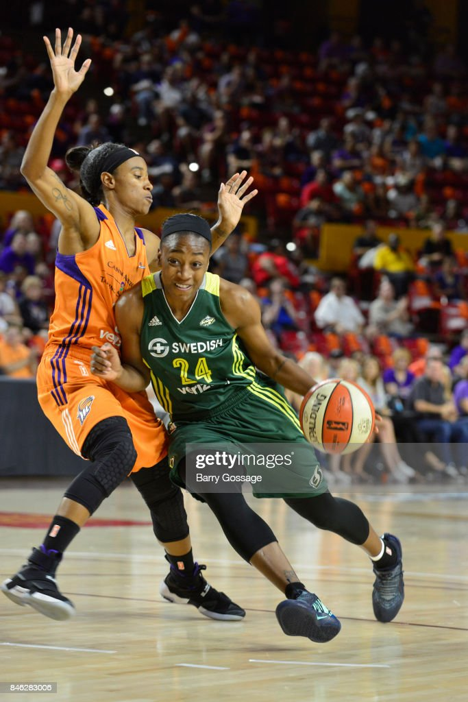 Jewell Loyd #24 of the Seattle Storm handles the ball during the game against the Phoenix Mercury in Round One of the 2017 WNBA Playoffs on September 6, 2017 at Arizona State University Wells Fargo Arena in Tempe, Arizona.