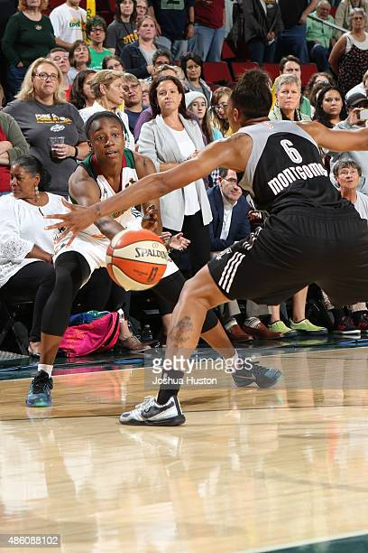 Jewell Loyd of the Seattle Storm makes a pass against the San Antonio Stars August 28 2015 at Key Arena in Seattle Washington NOTE TO USER User...