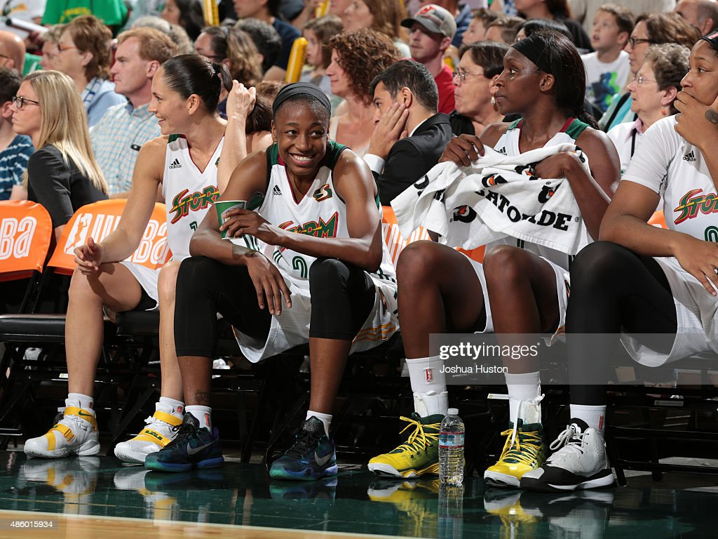 <a gi-track='captionPersonalityLinkClicked' href=/galleries/search?phrase=Jewell+Loyd&family=editorial&specificpeople=9966103 ng-click='$event.stopPropagation()'>Jewell Loyd</a> #24 of the Seattle Storm smiles during a game against the Washington Mystics on August 30, 2015 at Key Arena in Seattle, Washington.