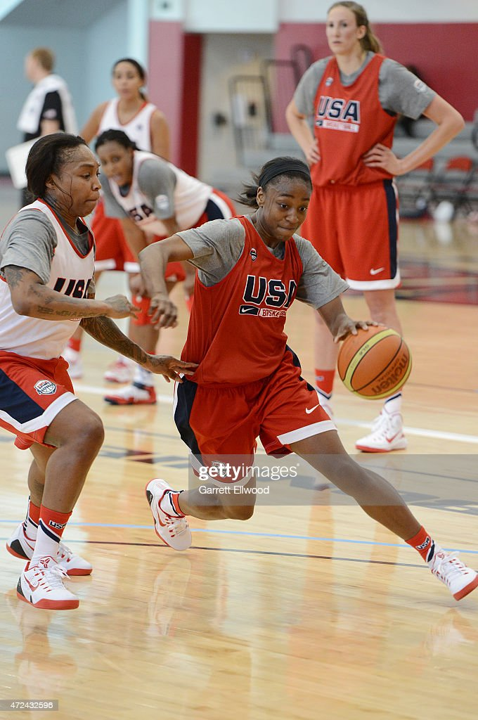 <a gi-track='captionPersonalityLinkClicked' href=/galleries/search?phrase=Jewell+Loyd&family=editorial&specificpeople=9966103 ng-click='$event.stopPropagation()'>Jewell Loyd</a> of the USA Women's National Team handles the ball during mini training camp on May 5, 2015 at the Mendenhall Center in Las Vegas, Nevada.