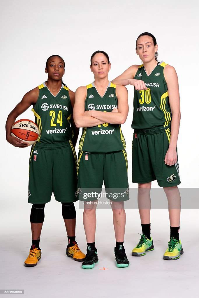 Jewell Loyd #24, Sue Bird #10 and Breanna Stewart #30 of the Seattle Storm poses for a photo during media day at Key Arena in Seattle, Washington May 05, 2016.