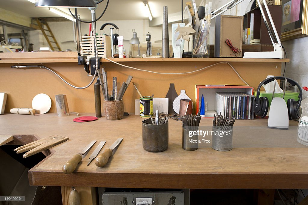 A Jewellers workshop showing all the tools : Stock Photo