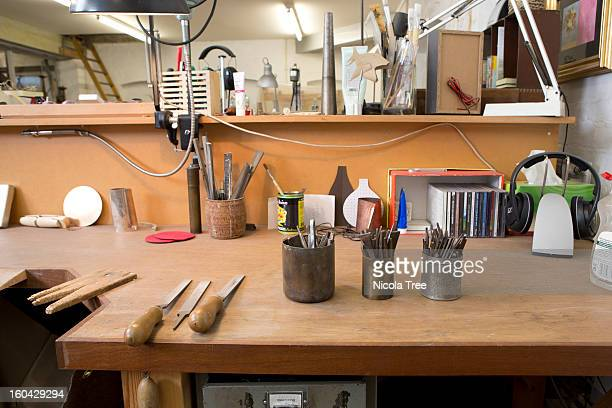 A Jewellers workshop showing all the tools